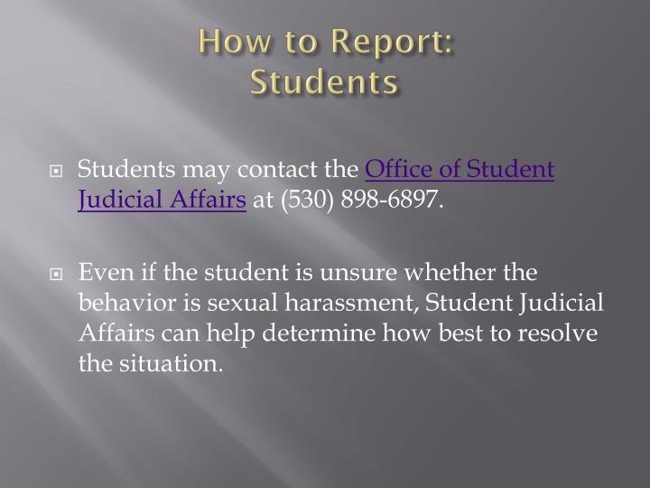 How to Report: