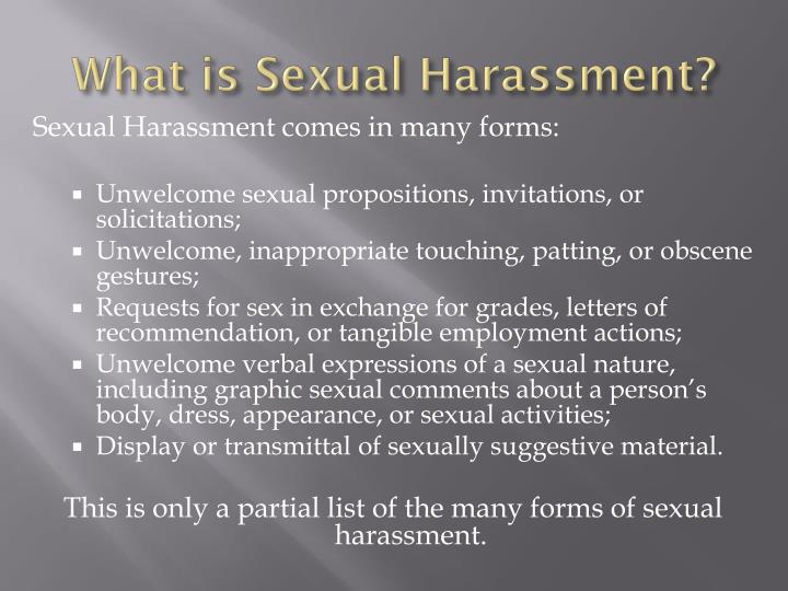 What is sexual harassment1