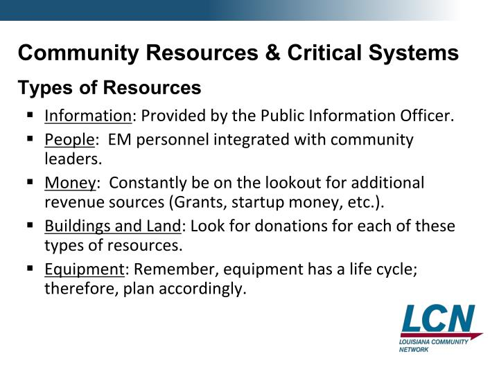 Community Resources & Critical Systems