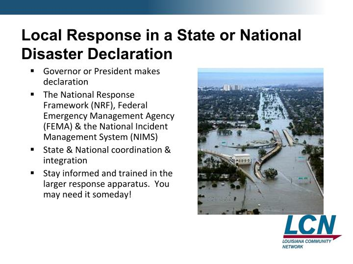Local Response in a State or National Disaster Declaration