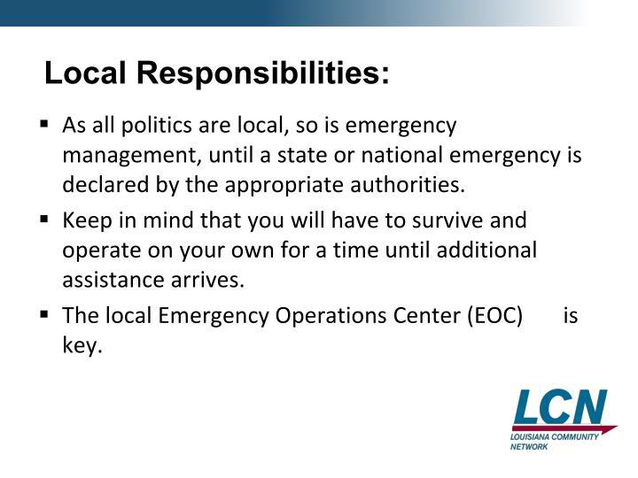 Local Responsibilities: