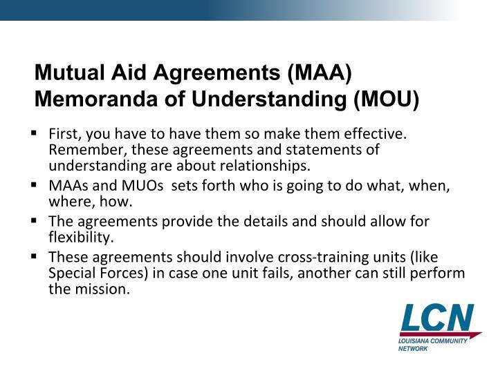 Mutual Aid Agreements (MAA)