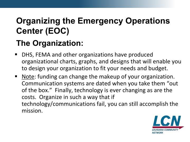 Organizing the Emergency Operations Center (EOC)