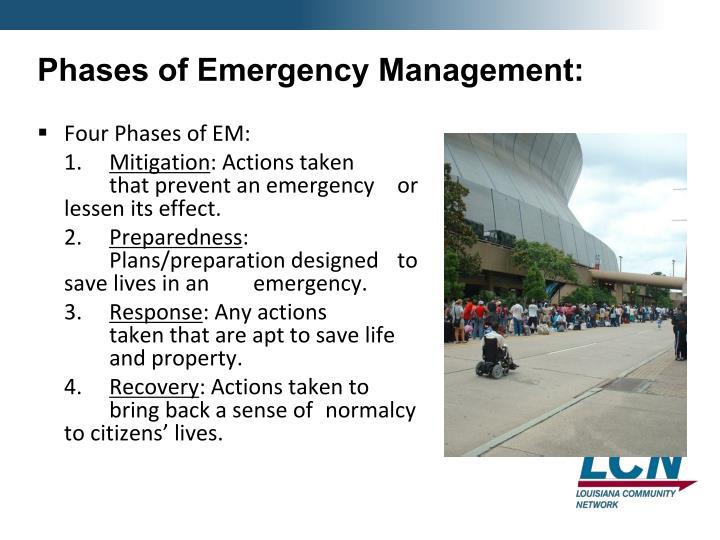 Phases of Emergency Management: