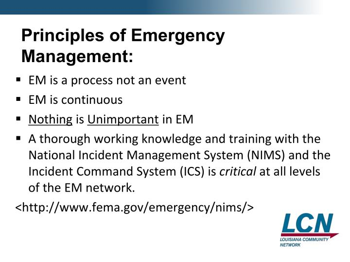 Principles of Emergency Management: