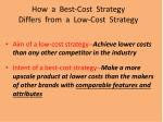 how a best cost strategy differs from a low cost strategy