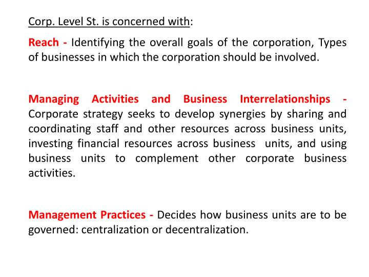 Corp. Level St. is concerned with
