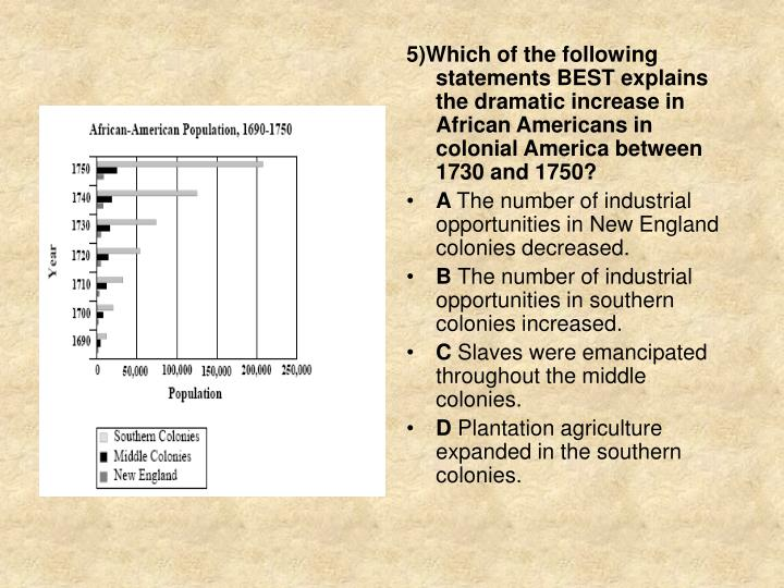 5)Which of the following statements BEST explains the dramatic increase in African Americans in colonial America between 1730 and 1750?