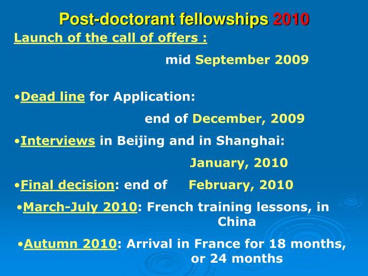 Post dissertation fellowships 2010