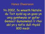 hanes chwaraeon16