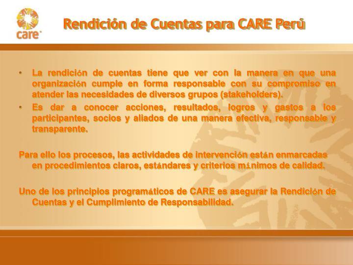 Rendición de Cuentas para CARE Perú