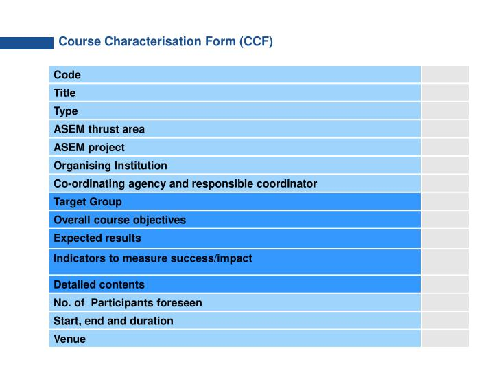 Course Characterisation Form (CCF)