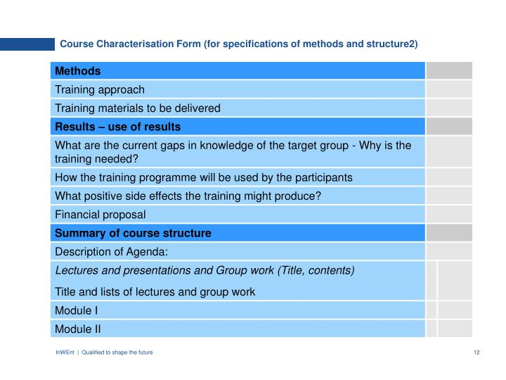 Course Characterisation Form (for specifications of methods and structure2)