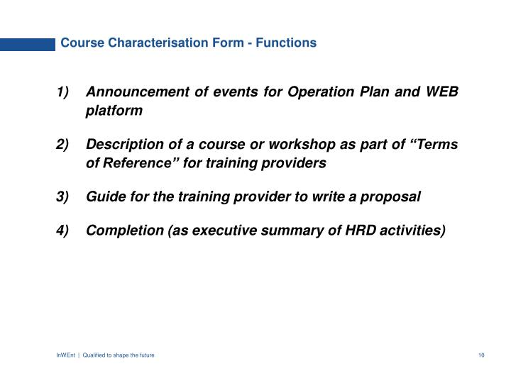 Course Characterisation Form - Functions