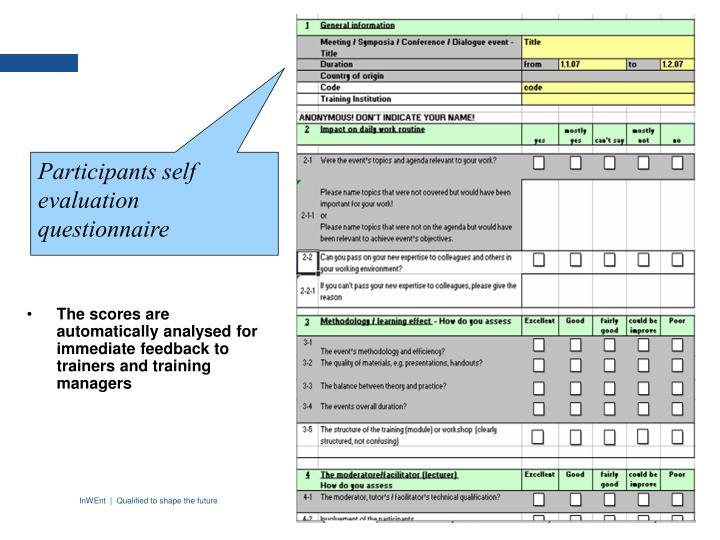 Participants self evaluation questionnaire