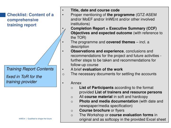 Checklist: Content of a