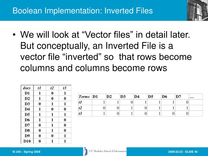 Boolean Implementation: Inverted Files