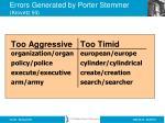errors generated by porter stemmer krovetz 93