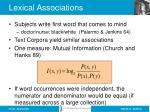 lexical associations