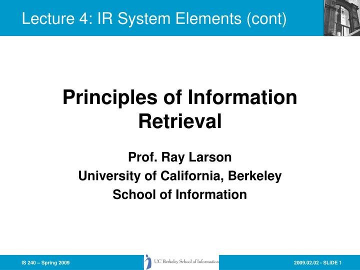 Prof ray larson university of california berkeley school of information