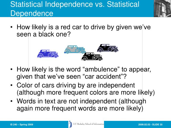 Statistical Independence vs. Statistical Dependence