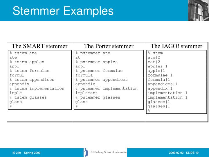 Stemmer Examples