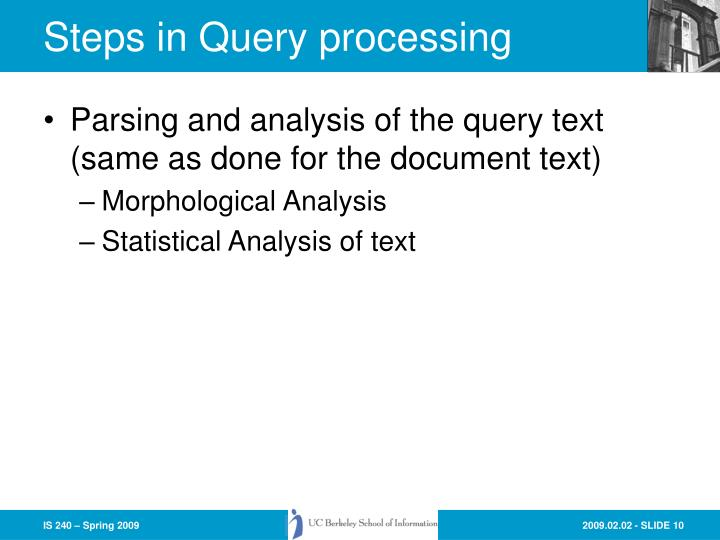 Steps in Query processing