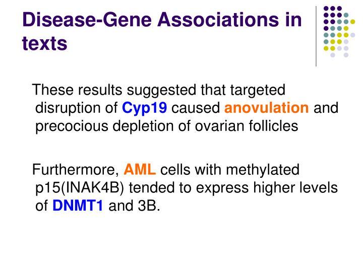 Disease-Gene Associations in texts