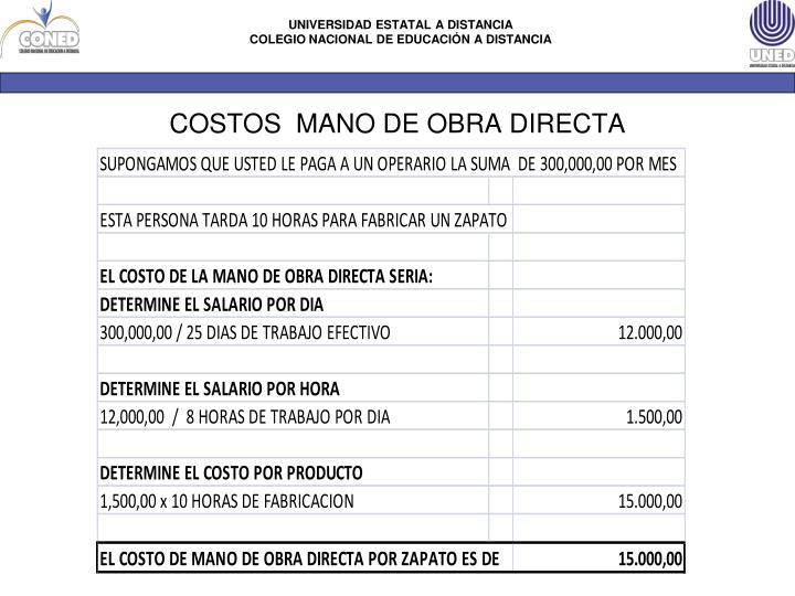 COSTOS  MANO DE OBRA DIRECTA