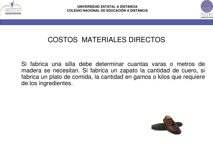 COSTOS  MATERIALES DIRECTOS