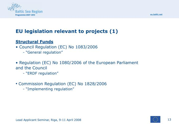 EU legislation relevant to projects (1)
