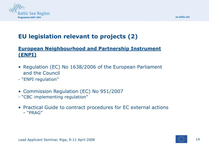 EU legislation relevant to projects (2)