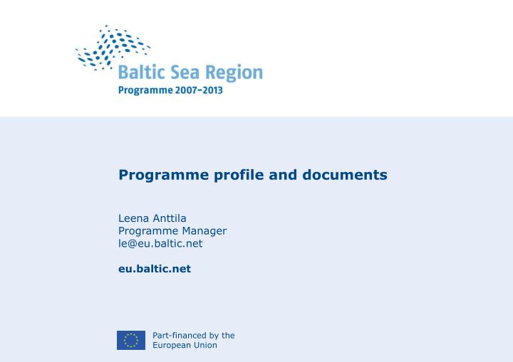 Programme profile and documents