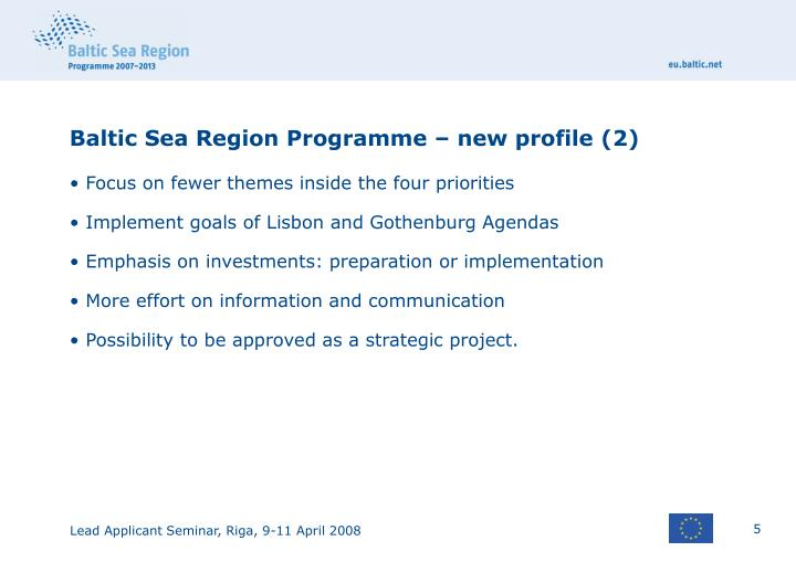 Baltic Sea Region Programme – new profile (2)
