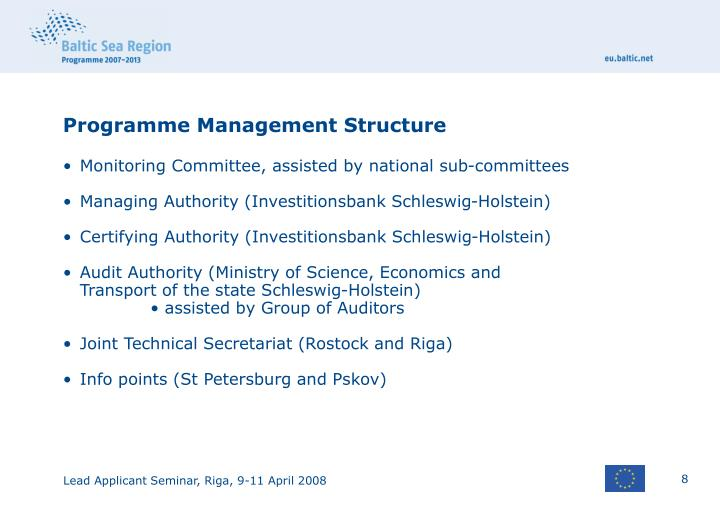 Programme Management Structure