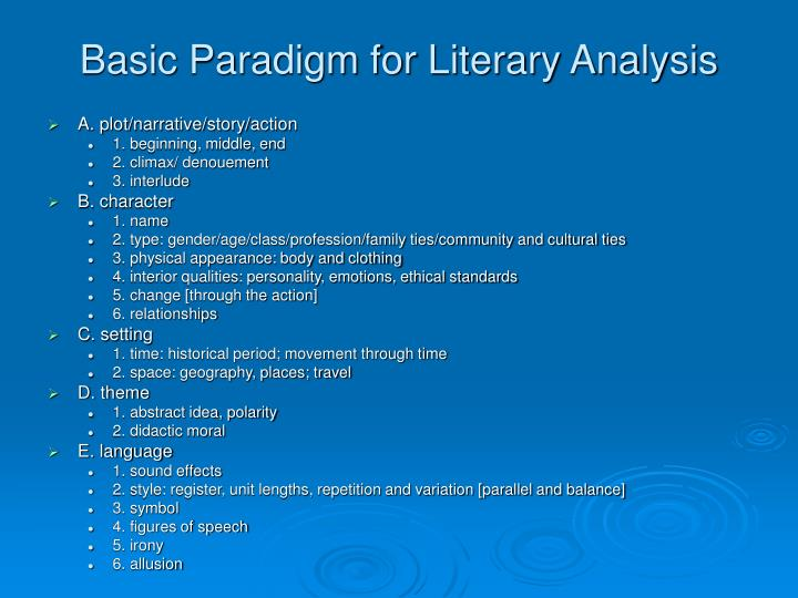 Basic Paradigm for Literary Analysis