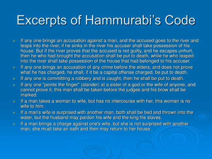 Excerpts of Hammurabi's Code