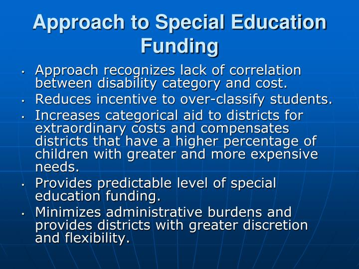 Approach to Special Education Funding