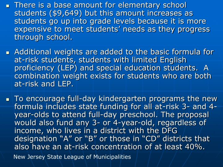 There is a base amount for elementary school students ($9,649) but this amount increases as students go up into grade levels because it is more expensive to meet students' needs as they progress through school.