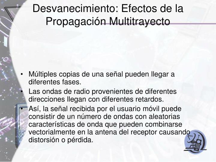 Desvanecimiento: Efectos de la Propagación Multitrayecto