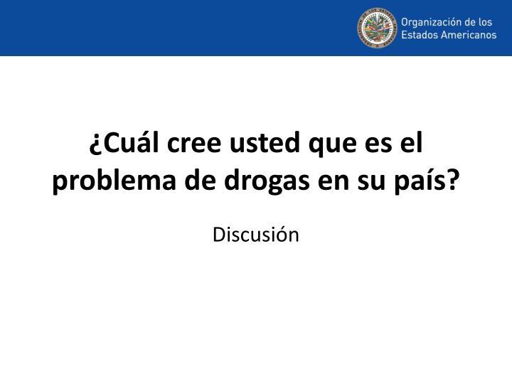¿Cuál cree usted que es el problema de drogas en su país?