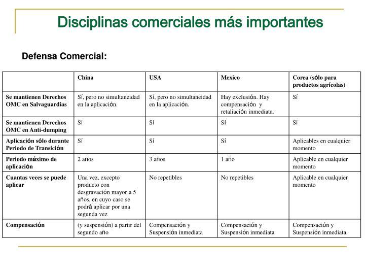 Disciplinas comerciales más importantes