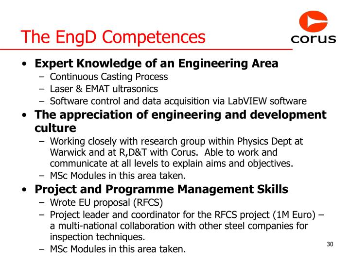 The EngD Competences