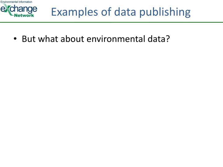 Examples of data publishing
