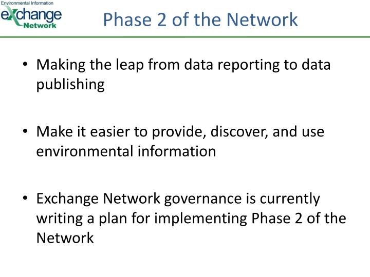 Phase 2 of the Network