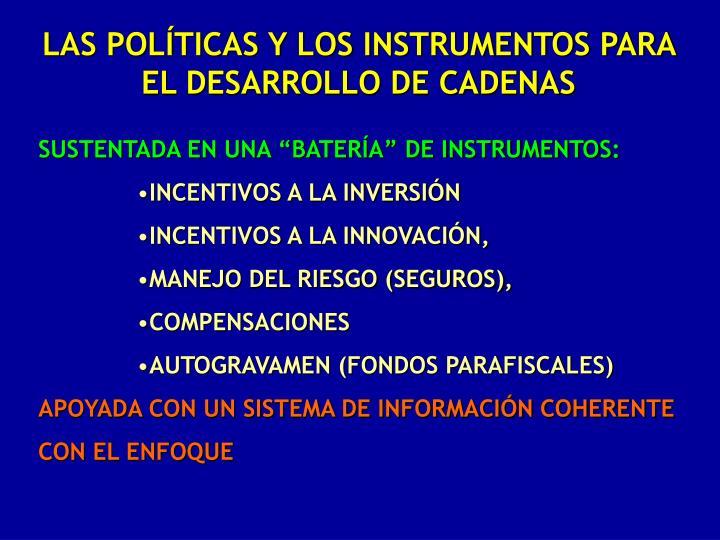 LAS POLÍTICAS Y LOS INSTRUMENTOS PARA EL DESARROLLO DE CADENAS