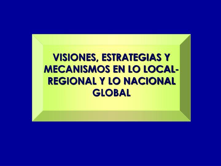 VISIONES, ESTRATEGIAS Y MECANISMOS EN LO LOCAL-REGIONAL Y LO NACIONAL GLOBAL