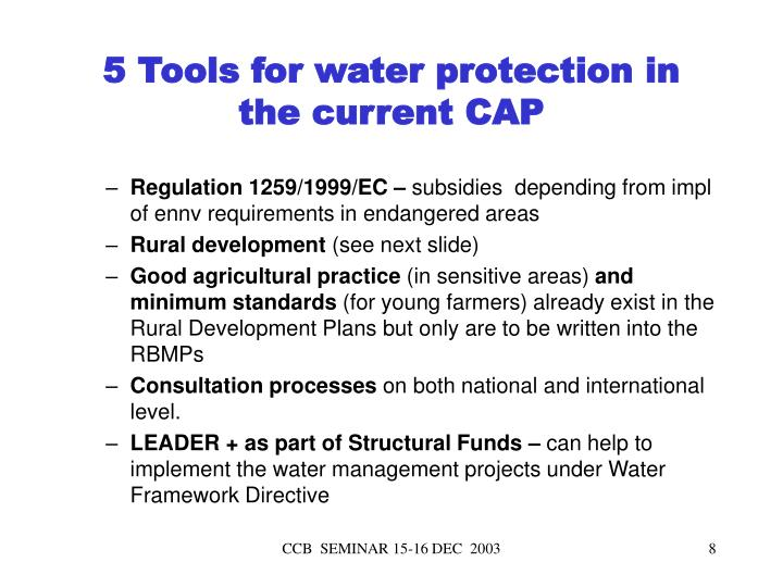5 Tools for water protection in the current CAP