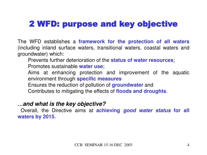 2 WFD: purpose and key objective