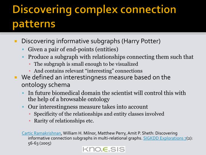 Discovering complex connection patterns